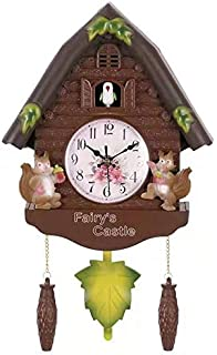 DMFES Cute Wall Clock Alarm Clock Cuckoo Clock Living Room Watch Brief Children Bedroom Decor Home Day Time Alarm Clocks (...