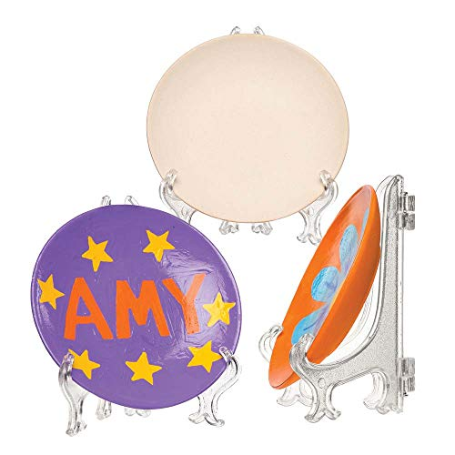 Baker Ross AW191 Mini Ceramic Plates & Stands, For Children To Decorate and Display, Perfect for Gift Giving (Pack of 4)