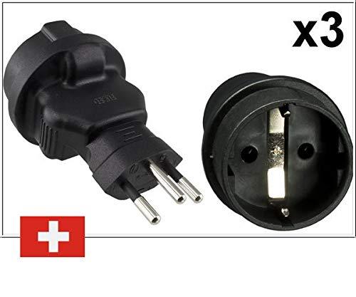 DINIC Reiseadapter, Stromadapter für die Schweiz, 3-Pin CH Adapter mit Sicherung (3 Stück, schwarz)