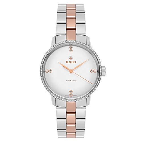Rado Coupole R22875722 - Reloj clásico con esfera blanca y diamantes para mujer