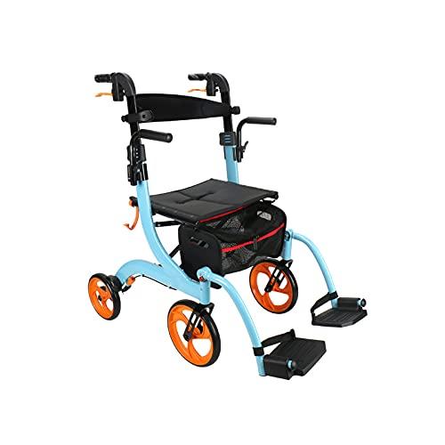 shu Carro de Cuatro Ruedas de aleación de Aluminio de Doble propósito, Carro de Compras, Andador, Viaje asistido para Personas Mayores