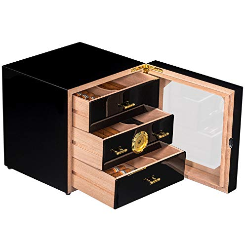 N  A Personalized Cigar Humidor Cabinet with Hygrometer for 35 Cigar, 3...