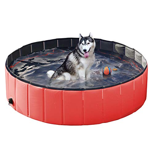 Yaheetech PVC Cat Dog Swimming Pool Puppy Bathtub Red in Different Size L
