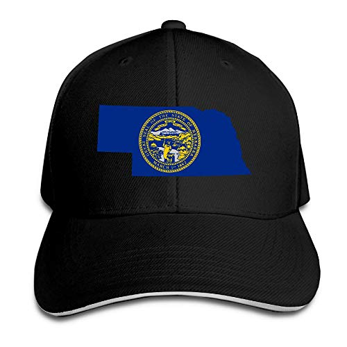 Flag Map of Nebraska Sandwich Hats Baseball Cap Hat Snapback Hat Dad Hat Black