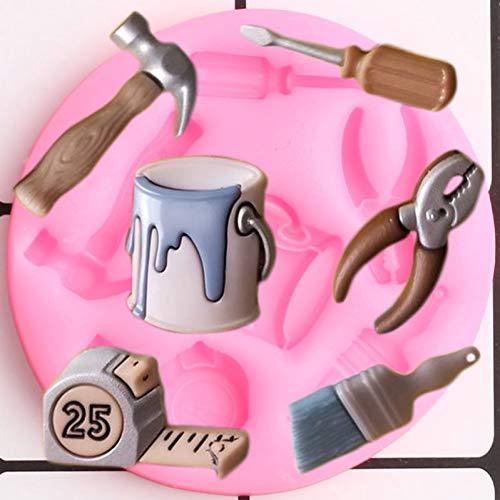 MEAOR Farbe Schraubendreher Hammer Pinsel Maßband Silikonformen Cupcake Topper Fondant Candy Schokoladenform Kuchen Dekorationswerkzeuge