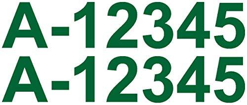 Samunshi® Bootskennzeichen Aufkleber Bootsnummer 2x10cmhoch grasgrün