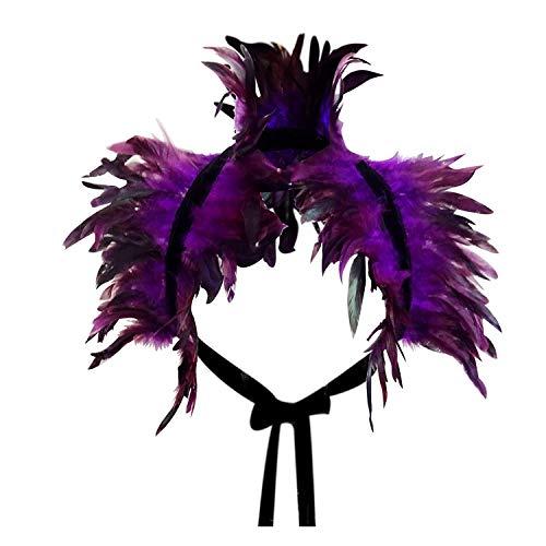 L'VOW Capa de plumas negras naturales para el hombro, alas, cuello gótico, disfraz para mujer (morado)