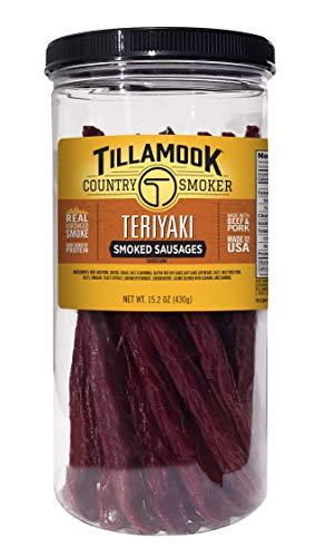 Tillamook Country Smoker Real Hardwood Resealable Tall Jar, Teriyaki- Smoked Meat Stick, 20 Count
