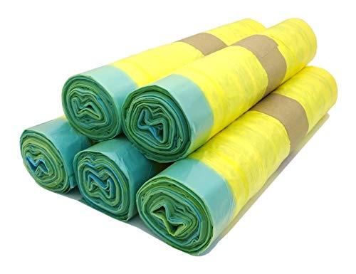 Lot de 5 rouleaux de sacs poubelle jaunes avec cordon de serrage pratique - 90 l