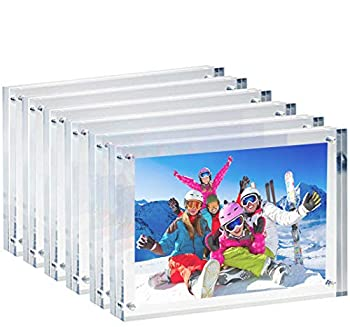SilverDot Clear Acrylic 4x6 Picture Frame Magnetic Double Sided Desktop Frameless Photo Display Stand for Family Baby Shower and Wedding Photo Frame - set of 6