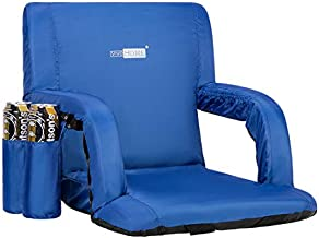 VIVOHOME Reclining Stadium Seat Chair for Bleachers with Padded Backrest and Armrests, Two Pockets for Drinks, Blue