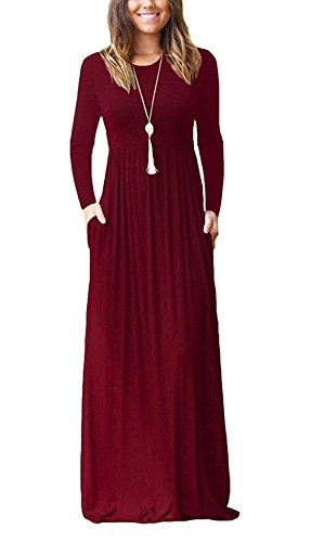 AUSELILY Women Long Sleeve Loose Plain Long Maxi Casual Dress with Pockets (2XL, Wine Red)