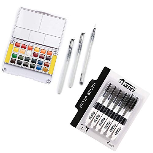 Artify Watercolor Field Sketch Set with 6 pcs Water Brush Pen Set Combo