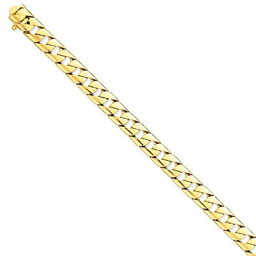 "Mia Diamonds 14k Solid Yellow Gold 10mm Han-Polished Fancy Link Necklace Chain -24"" (24in x 10mm)"