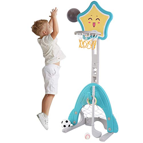 Kids Basketball Hoop Stand Playset, 4-in-1 Height Adjustable Basketball Sports Toys with Football/Soccer Goal, Golf Set & Ring Toss, Best Gift for Toddler Indoor & Outdoor Play (Multicolour)