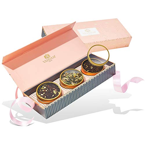 VAHDAM, Assorted Tea Gift Set - BLUSH, 3 Teas in a Tea Sampler Gift Box | OPRAH'S FAVORITE TEA | 100% Natural Ingredients - Birthday Gifts for Women | Gifts for Mom | Gifts for Grandma | Tea Sets
