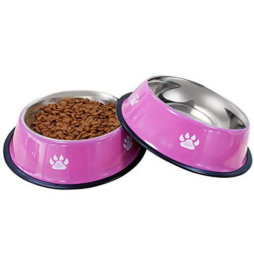 VIBOOS Hundenapf, 2 Stück Edelstahl Hundenapf, rutschfeste Hundenäpfe für Futter oder Wasser, Perfekte Haustier Futternapf für Mittelgroße und Große Hunde (Rosa)