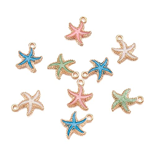 Craftdady 50Pcs Random Mixed Color Enamel Starfish Pendants 18x14.5mm Gold Plated Metal Ocean Sea Life Charms for Summer Beach Theme Jewelry Making with 1.4mm Hole