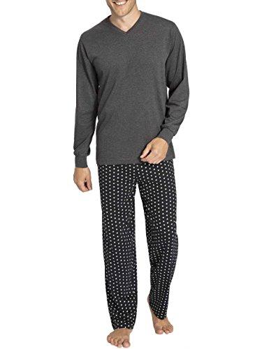 TOM TAILOR Schlafanzug lang Pyjama Jersey 50/M Grey-Dark-Melange (831)