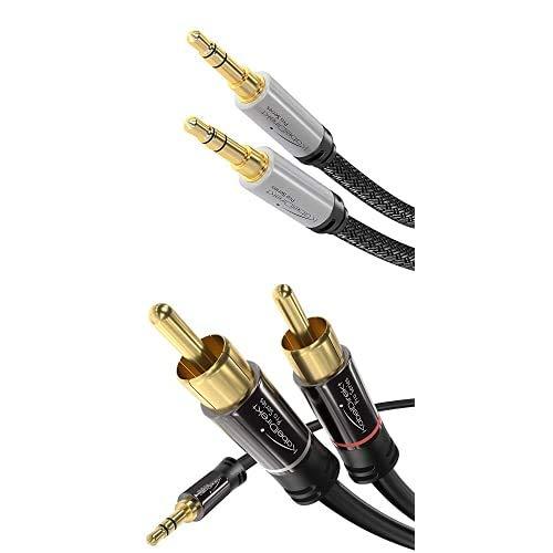 KabelDirekt, 2m, cable jack Audio estéreo, 3.5mm, adecuado para auriculares, smartphones, portátiles, MP3 Player o entrada Aux en el coche, nailon, plateado y KabelDirekt 2m Cable Jack 3.5mm