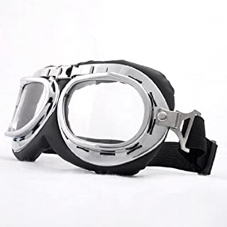 Steampunk Goth Style Aviator Unisex UV Goggles - Chrome Plated Frame Clear Lens