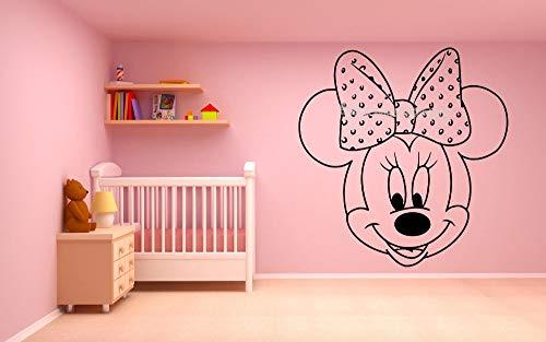 HNXDP Pretty Cartoon Topolino Minnie Wall Sticker Vinile Nursery Cameretta per bambini Ragazza Camera Decorazioni per la casa adesivo de parede EA69642x42cm
