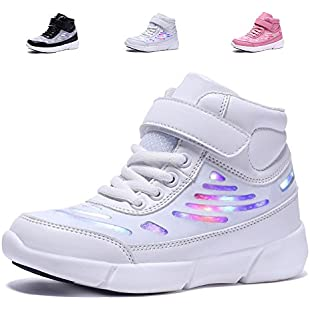 adituob Light up Sneaker for Boys Girls Flashing USB Charging Trainers Lace up Sport Shoes White36
