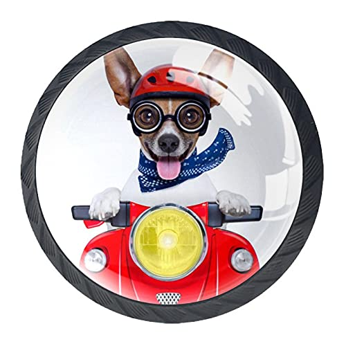 Tirador de la perilla del cajón 4 piezas El cajón del gabinete de vidrio de cristal tira las perillas del armario,feliz, moto, perro, con, casco