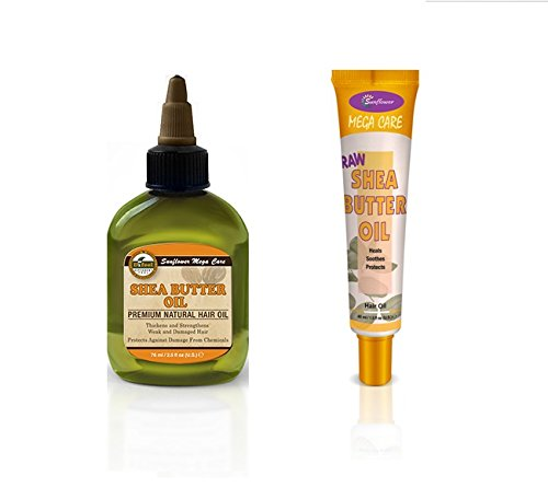 Difeel Shea Butter Moisturizing Hair Collection - 2 Piece Set: Includes Shea Butter Hair Oil and Mega Care Raw Shea Butter Hair Oil