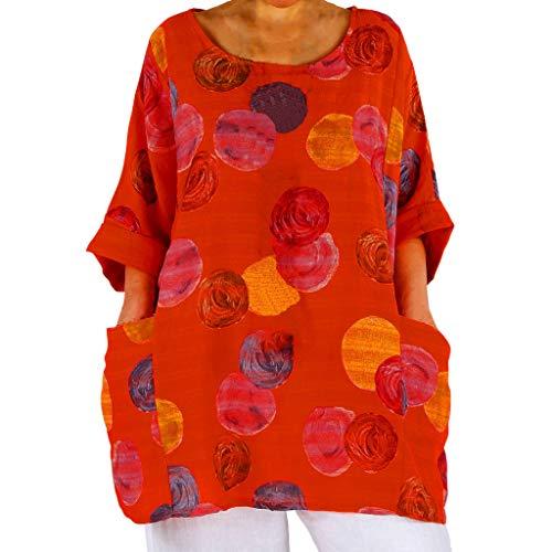 SHINEHUA linnen blouse dames linnen tuniek blouse tops Mexicaanse blouse losse lange mouwen bovenstuk T-shirt casual ronde hals blousenshirt lange mouwen losse tops Baggy tuniken Kaftan Large oranje