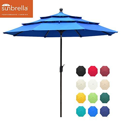 EliteShade Sunbrella 9Ft 3 Tiers Market Umbrella Patio Outdoor Table Umbrella with Ventilation and 5 Years Non-Fading Top,Royal Blue