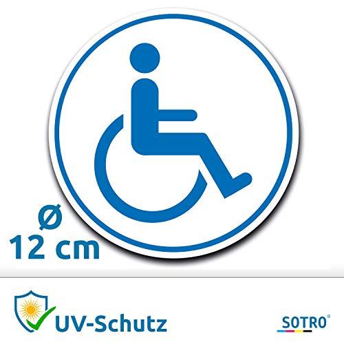 Aufkleber Rollstuhlfahrer Auto, Rollstuhl Symbol/Zeichen, Parken mit Behinderung, Rollstuhlaufkleber, Behindertenaufkleber, Rollstuhlzeichen, Autoaufkleber (Weiß, Rund, Ø 12 cm)