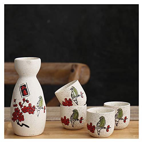 Uziqueif Juego de Sake de gres japonés, con 1 Botella de Sake...