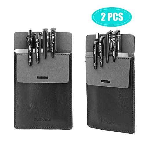 胸ポケット用ペンケース,ペンケース 胸ポケット用(2枚セット),白衣 ポケット 汚れ防止, 5本のペンを保 持, PUレザー ポケットプロテクター(ブラック)