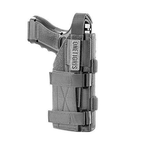 OneTigris 1000D Nylon Taktische Molle Pistolenholster Gürtelholster für Pistolen (Grau)
