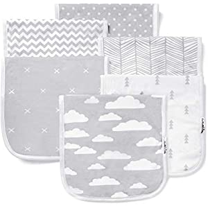 """crib bedding and baby bedding burp cloths for baby boy & girl - ultra absorbent burping rags - anti shrink unisex burpy clothes - super soft jersey cotton, large 21""""x10"""" - thick for newborn cloth diapers - 6 pack by baebae goods"""