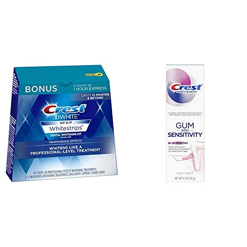 Crest 3D White Dental Whitening Kit, Professional Effects Whitestrips, 44 Count (Pack of 1), and Pro-Health Gum And Sensitivity, Sensitive Toothpaste, All Day Protection, 4.1 Ounce