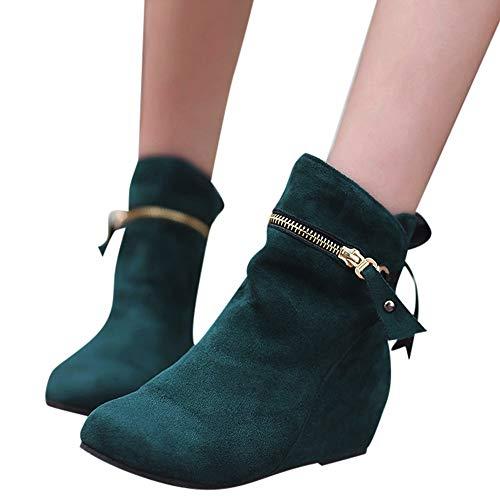 Stiefel Damen Boots Frauen Erhöhen Stiefel Spitz Zip Bow Stiefel Klassische Knöchel Freizeitschuhe...