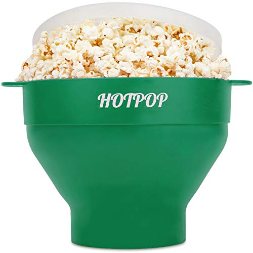 The Original Hotpop Microwave Popcorn Popper, Silicone Popcorn Maker, Collapsible Bowl Bpa Free and Dishwasher Safe- 17 Colors Available (Olive Green)