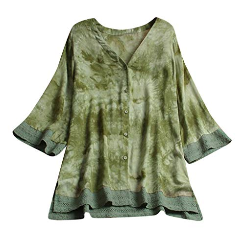 Vimoli Kleider Damen Casual Plus Size Lose Minikleid Leinenhülse Knopf Bluse Kleid(Grün,De-50/CN-4XL)