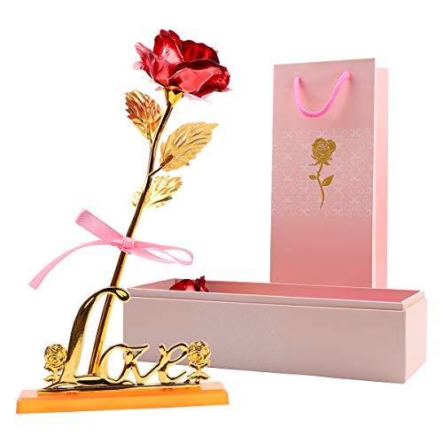 Xiangmall 24K Rosa Chapada en Oro Rosa Flor Rosa Eterna Roja con Caja Regalo Base Regalo para Cumpleaños Boda Aniversario Día de la Madre Decoración del Hogar (Rojo)
