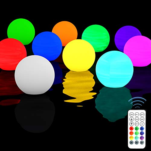 Homly Floating Pool Lights Ball 10 Packs, Led Light Ball Remote Control,Color Changing Hot Tub Lights,Led ORB Lights Full Waterproof Swimming Pool Toys Pool Gift, Night Light Ball Lamp Glow Balls