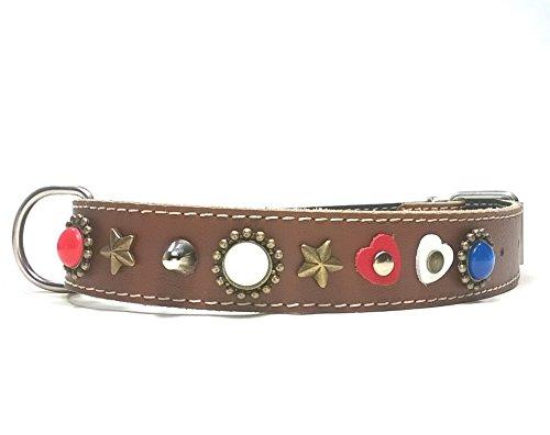 Superpipapo Hunde-Halsband, Handmade Braun Leder für Mittelgroße und Große Hunde, Ausgefallen mit Rot Weiß Blau Polaris Steinen und Herzen, 55 cm X: Halsumfang 40-45 cm, Breit 28mm