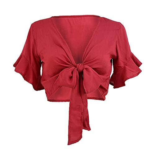 Camiseta sexy recortada chaqueta con volantes de manga corta para mujer de verano