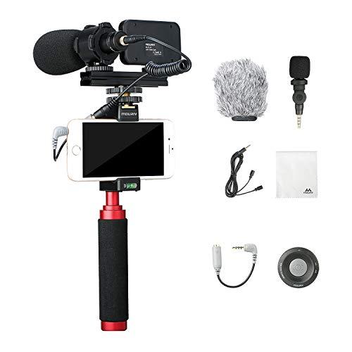 Mouriv PV-1 Kit de video para smartphone con Grip Rig, micrófonos de video Pro, luz LED y control remoto inalámbrico para YouTube Vlogging Facebook Livestream para iPhone 6,7,8,X,XS,Samsung Galaxy