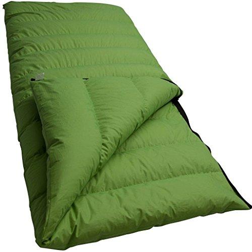 LOWLAND Outdoor Companion - Sacco a pelo estivo in piuma, 210 x 80 cm, colore: Verde