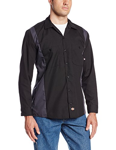 Dickies Occupational Workwear LL524BKCH 2XLT Polyester/Cotton Men's Long Sleeve Industrial Color Block Shirt, 2X-Large Tall, Black/Dark Charcoal