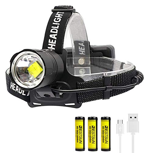BESTSUN Headlamp Rechargeable, 10000 Lumens CREE XHP70 LED Headlamp Flashlight High Lumens Zoomable Waterproof Headlight Brightest Head Lamp for Working Caving Hunting