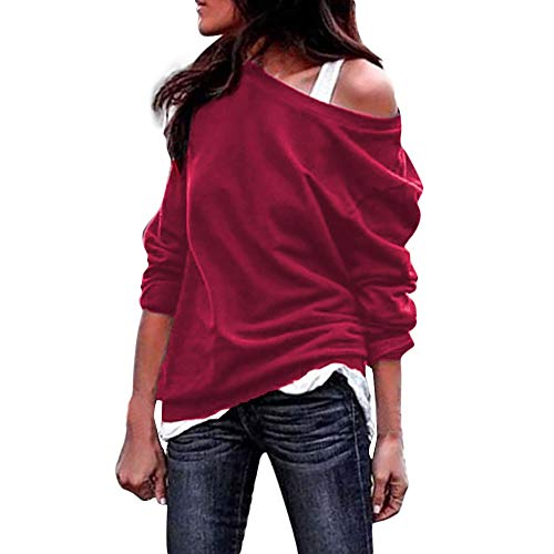 Strung Damen Große Größe Oberteile Langarm Bluse V-Ausschnitt Aus Der Schulter Bluse Mode T-Shirt Casual Bekleidung Jumper Sweatshirt Frauen Pullover Tunika Shirt Hemd