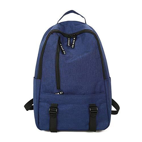 Large-Capacity Canvas Rucksack weiblich einfache Farbe Tasche männlich Mittelklasse-Freizeit-Reiserucksack, blau